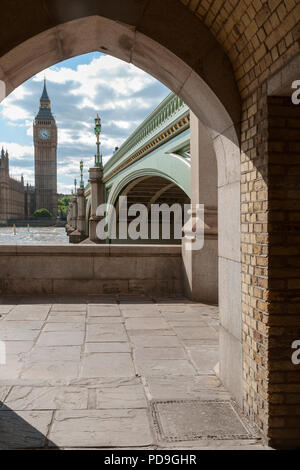 The Big Ben framed in a arch in this unusual point of view - Stock Photo