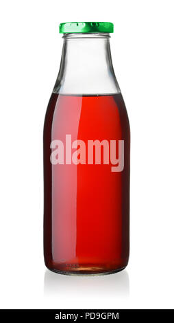 Glass bottle of cherry juice isolated on white - Stock Photo