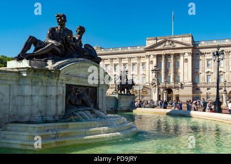 London England August 05, 2018 The Victoria Memorial, outside Buckingham Palace, the London residence of Her Majesty Queen Elizabeth 2nd - Stock Photo