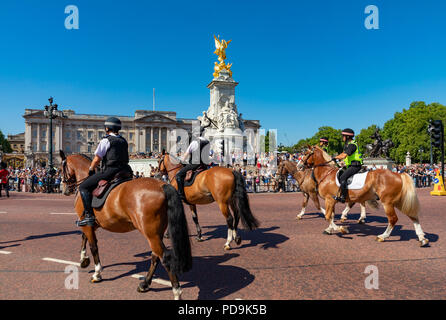 London England August 05, 2018 Mounted police outside Buckingham Palace during the changing the guard ceremony - Stock Photo