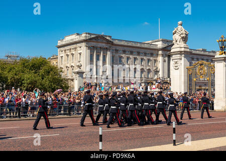 London England August 05, 2018 A detachment of the Coldstream Guards arrives at Buckingham Palace during the changing the guard ceremony - Stock Photo