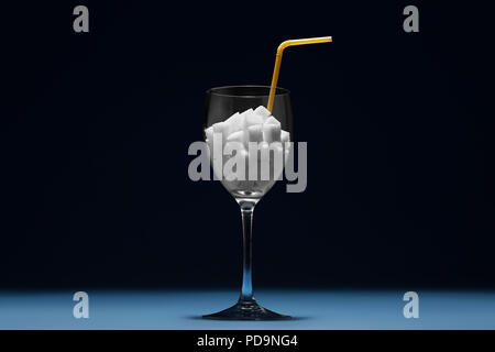 Sugar Content in Alcoholic Beverages. How many sugar in drink. Creative composition - Stock Photo
