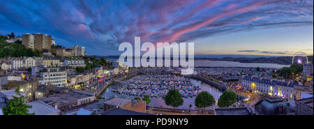 GB -DEVON: Panoramic view of Torquay harbour at sunset - Stock Photo