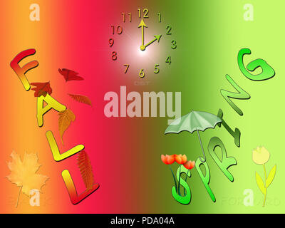 A seasonal, conceptual artwork depicting what many of us are familiar with, and have to deal with, each fall and spring: (DST) Daylight Savings Time. - Stock Photo