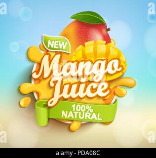 Fresh and natural Mango juice with mango slices in juice splash. Perfect for retail marketing promotion and advertising. Vector illustration. - Stock Photo