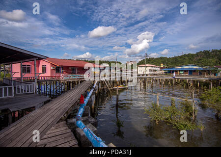 Raised floating Houses and walk ways of the historical settlement  Kampong Ayer, meaning Water village, in Bandar Seri Begawan, the capital city of Br - Stock Photo