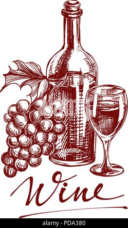 collection wine hand drawn vector llustration sketch - Stock Photo