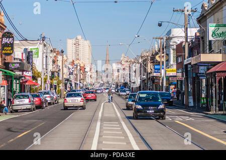 Looking South down Brunswick street, Fitzroy, Melbourne, Australia - Stock Photo