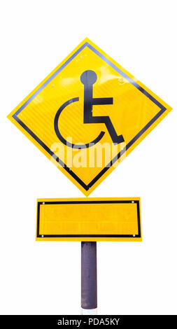 Reserved parking for Handicapped Only sign with copy space beneath isolated on white background. Handicap sign on yellow background. - Stock Photo