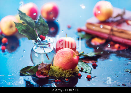 Autumn apples still life. Fall harvest header under the rain with water drops and copy space. Red small organic ranet apples with a glass jar and fallen leaves - Stock Photo