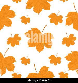 Vector illustration. Seamless pattern. Autumn yellow leaves - Stock Photo