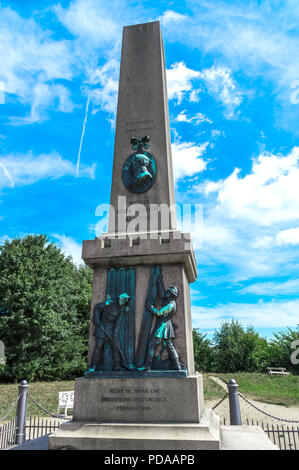 Commemorative column dedicated to Colonel Niels Christian Lunding, a hero of the Battle of Fredericia 1849 - Fredericia, Denmark. - Stock Photo