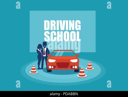 Driving school. Student and instructor and a training car. Vector illustration in cartoon style - Stock Photo