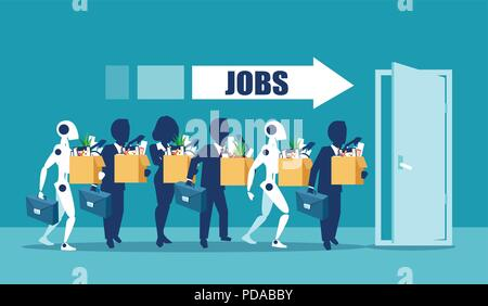 Human vs Robots concept. Business job applicants competing with artificial intelligence. Competition of people and robot technology for jobs. Concept  - Stock Photo