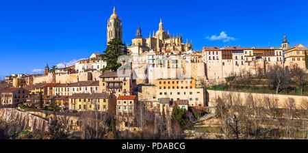 Beautiful  Segovia town,panoramic view,Spain - Stock Photo