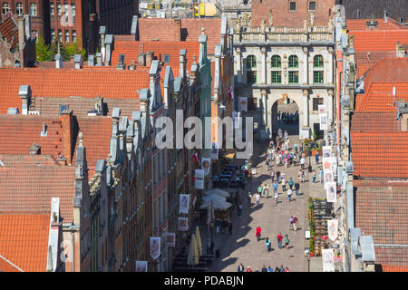 Gdansk city center, aerial view of Dlugi Targ - the main thoroughfare in  Gdansk Old Town - looking towards the Golden Gate portal, Pomerania, Poland. - Stock Photo