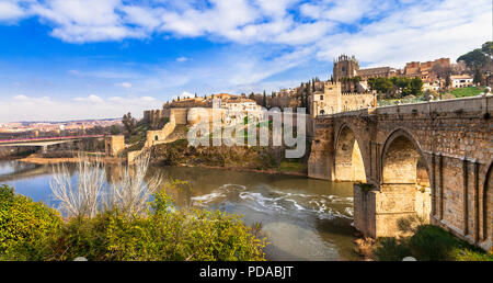 Impressive Toledo town over sunset,panoramic view,Spain. - Stock Photo
