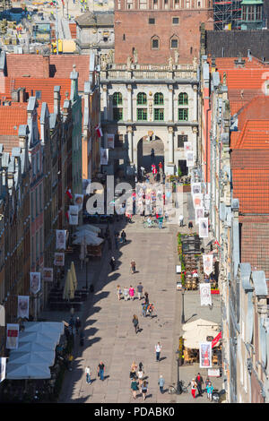 City center Gdansk, aerial view of Dlugi Targ - the main thoroughfare in  Gdansk Old Town - looking towards the Golden Gate portal, Pomerania, Poland. - Stock Photo