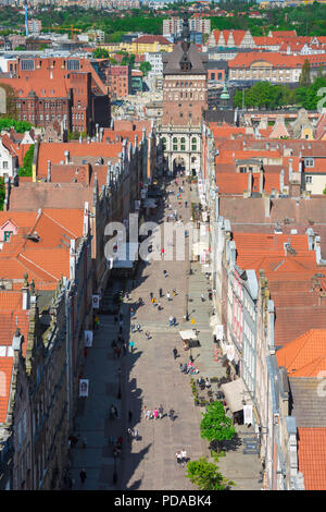 Gdansk city Poland, Gdansk city center, aerial view of Dlugi Targ - the main thoroughfare in  Gdansk Old Town - looking towards the Golden Gate portal - Stock Photo
