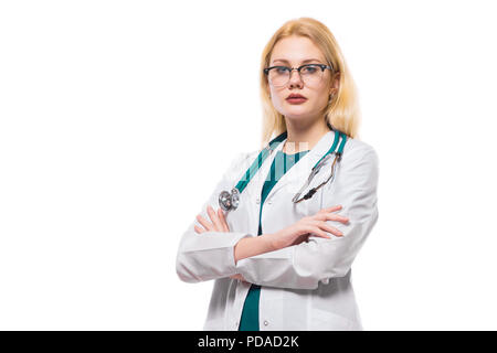 Woman doctor with stethoscope - Stock Photo