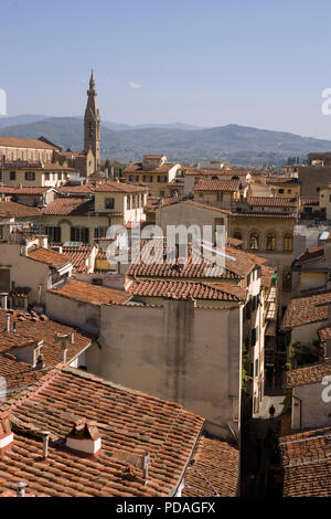 View East over Florence with Via Vinegia in the foreground, from the Terrazza di Saturno, Palazzo Vecchio, Florence, Tuscany, Italy - Stock Photo