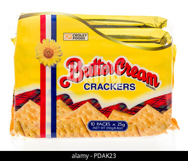 Winneconne, WI - 2 August 2018: A package of Butter Cream crackers sold by croley foods on an isolated background - Stock Photo