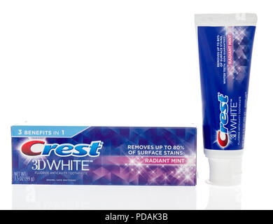 Winneconne, WI - 7 August 2018: A package of Crest 3D white toothpaste on an isolated background - Stock Photo