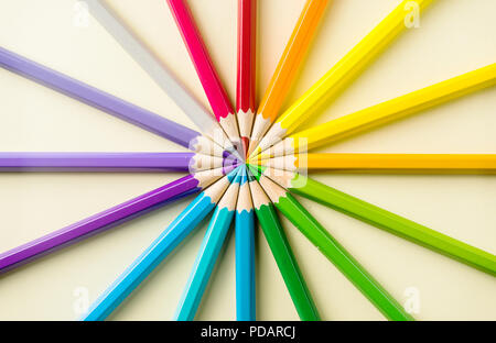 Business concept - Top view of color pencil circle on yellow paper background, teamwork, united and communication concept