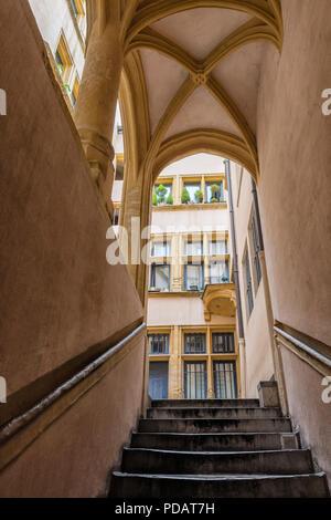 Traboule Hostellerie du Gouvernement, Saint Jean District, Unesco World Heritage Site, Old Lyon, Rhone Alpes, France - Stock Photo