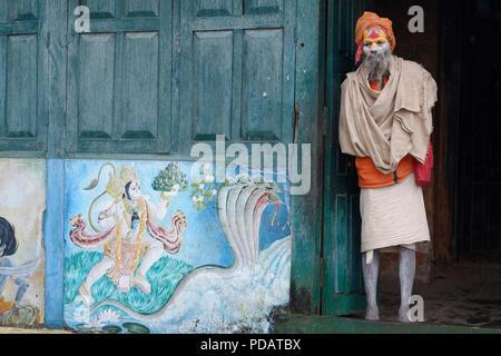 Hinduist Sadhu, Holy Man, Pashupatinath Temple, Kathmandu, Nepal - Stock Photo