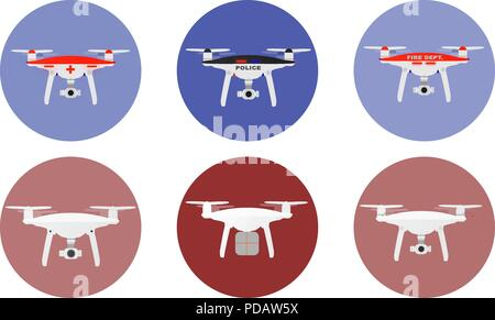 Drones icons with unmanned aircrafts of different purpose police, medic, fire, delivery etc. vector illustration. - Stock Photo