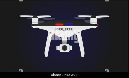 Black and white drone police with background. - Stock Photo