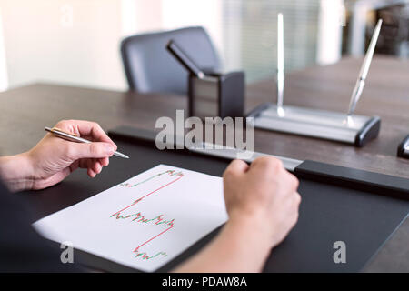 Man sitting at table and holds pen in left hand. There are sheet of paper with a trading chart on the table. Concept photo. - Stock Photo