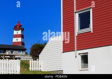 Alnes Lighthouse, Godoy Island, Alesund City, More og Romsdal County, Norway - Stock Photo