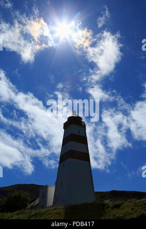 Midnight Sun over Alnes Lighthouse, Godoy Island, Alesund City, More og Romsdal County, Norway - Stock Photo