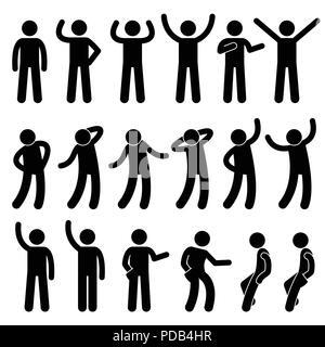 Various Standing Postures Poses Human Man People Stick Figure Stickman Pictogram Icons - Stock Photo