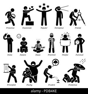 Positive Personalities Character Traits. Stick Figures Man Icons. Starting with the Alphabet P. - Stock Photo