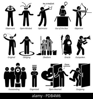 Positive Personalities Character Traits. Stick Figures Man Icons. Starting with the Alphabet O. - Stock Photo