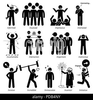 Positive Personalities Character Traits. Stick Figures Man Icons. Starting with the Alphabet I. - Stock Photo