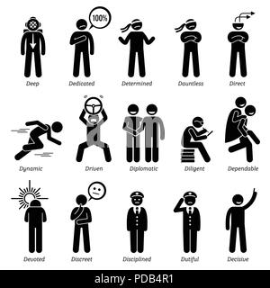 Positive Personalities Character Traits. Stick Figures Man Icons. Starting with the Alphabet D. - Stock Photo
