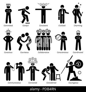 Positive Personalities Character Traits. Stick Figures Man Icons. Starting with the Alphabet C. - Stock Photo
