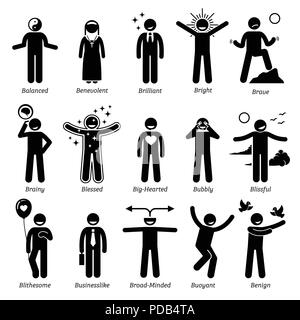Positive Personalities Character Traits. Stick Figures Man Icons. Starting with the Alphabet B. - Stock Photo