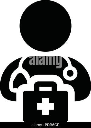 Healthcare Icon Vector Of Male Person Profile Avatar Symbol For