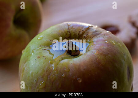 Fresh green apple whit water drops/ Conceptual image of detox and healthy eating - Stock Photo
