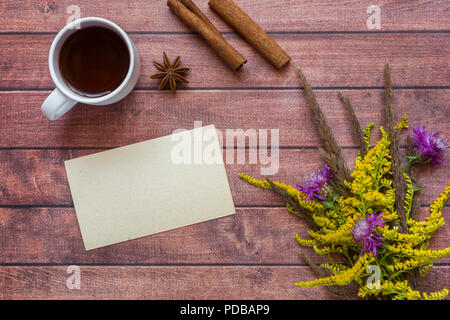 Cup of coffee and a cozy Autumn composition, autumn concept. Flat layout, top view. - Stock Photo