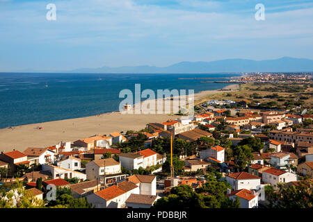 an aerial view of the Falaise district of Leucate, France, with the Leucate Plage beach and the Mediterranean sea on the left - Stock Photo