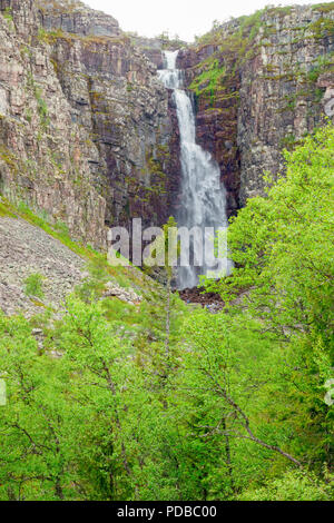 High waterfall in the swedish mountains - Stock Photo