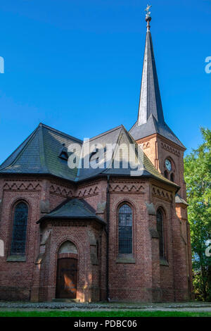 Germany, Stolpe an der Peene. Protestant Wartislaw Memorial Church. Historic listed Neo-Gothic building exterior  Church built in honour of first Chri - Stock Photo