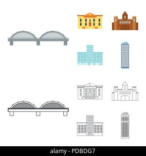 Museum, bridge, castle, hospital.Building set collection icons in cartoon,outline style vector symbol stock illustration . - Stock Photo