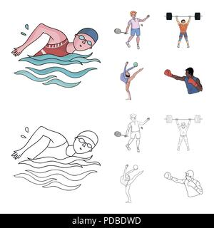 Swimming, badminton, weightlifting, artistic gymnastics. Olympic sport set collection icons in cartoon,outline style vector symbol stock illustration  - Stock Photo